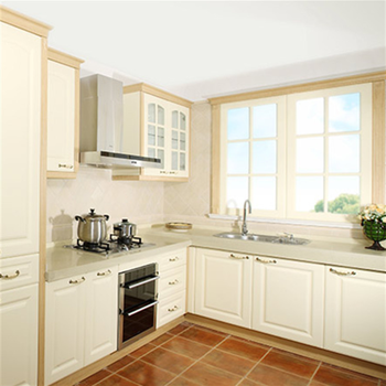 Pvc Coated Mdf Grey Kitchen Cabinet