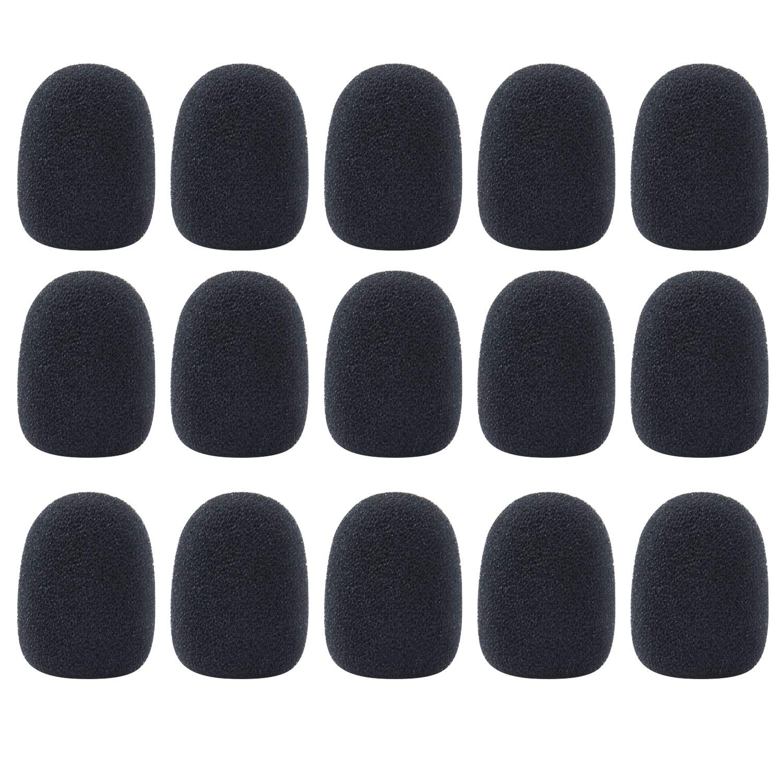 Sunmns 15 Pack Mini Size Lapel Headset Microphone Mic Windscreen Foam Cover, Black