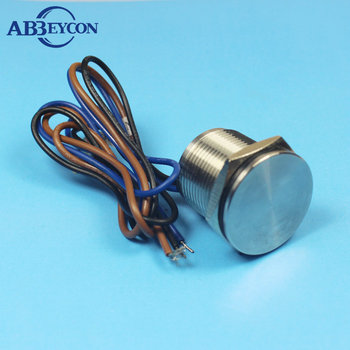 19mm Flat Finger Touching Normally Open Momentary Stainless steel 316L Anti-corrosion 24V Push Button Switch