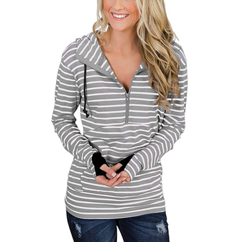 Hot Sale Fashion Half Zipper Stripe Pullover Women Hoodie Sweatshirts