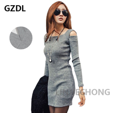New Korean Women Ladies Off Shoulder Long Sleeve Bodycon Party Casual Autumn Novelty Dress Knitwear Clothing Free Shipping 1114