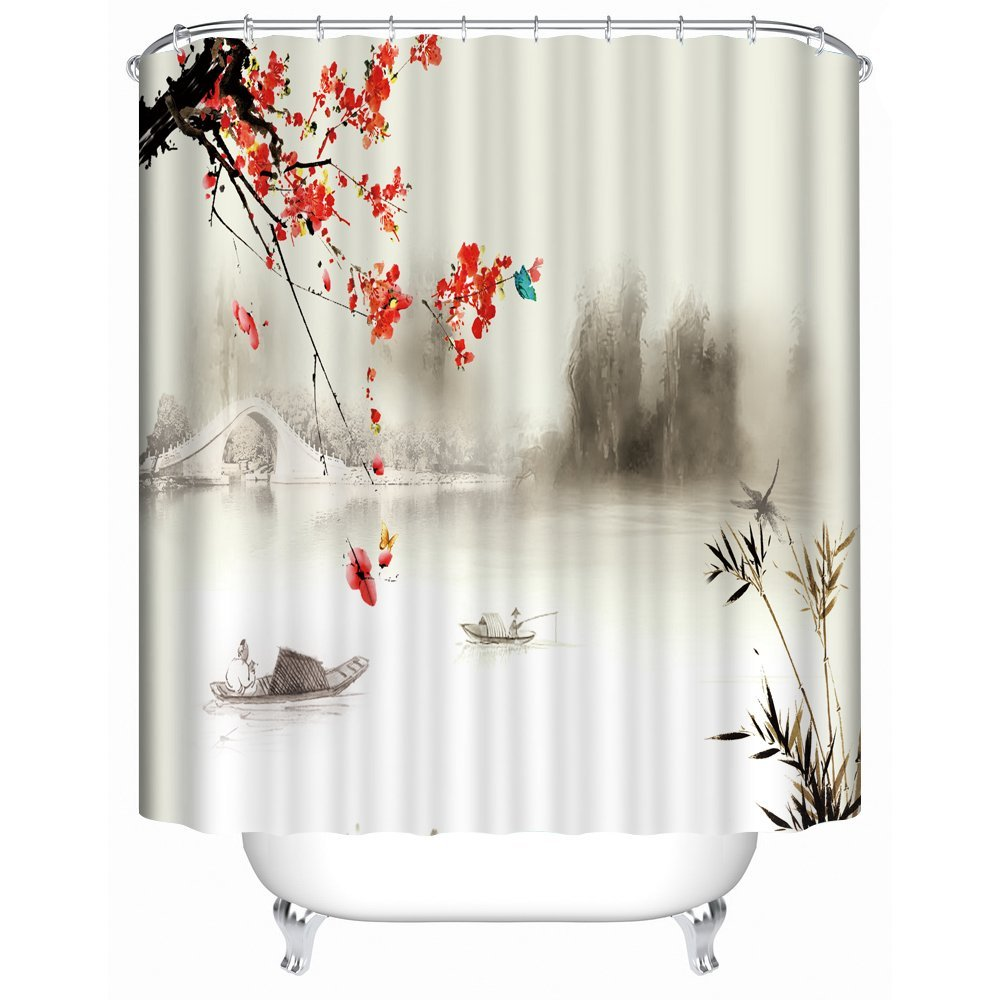 Buy Panoramic Print Red Blossom With Bridge Fabric Shower Curtain