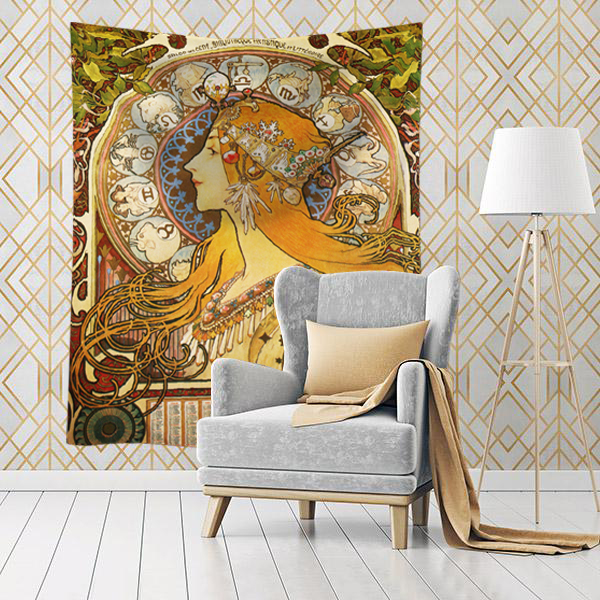 Waving Vintage French Alphonse Mucha Art Nouveau cotton wall tapestry hanging