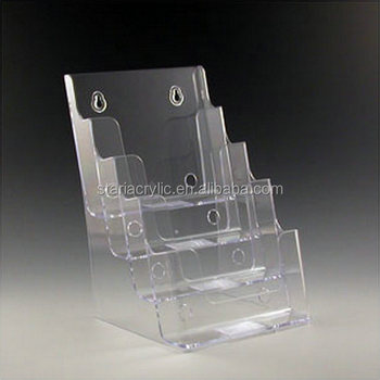 6.5 x 10 x 6.25 Clear Acrylic Multiple Brochure Holder , 4 Pocket Acrylic Document Display Stand