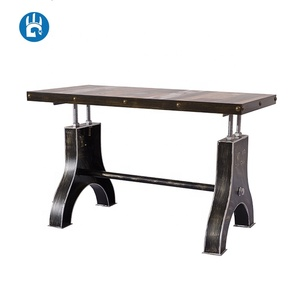 China wooden top vintage antique industrial coffee crank dining table