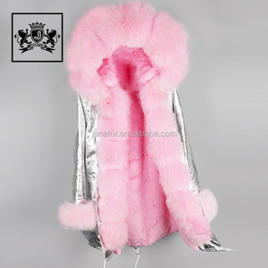 Fashionable raccoon fur trim faux fur lining womens parkas with fur