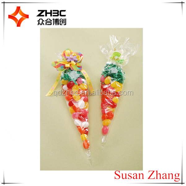 cone shaped clear candy treat opp bag
