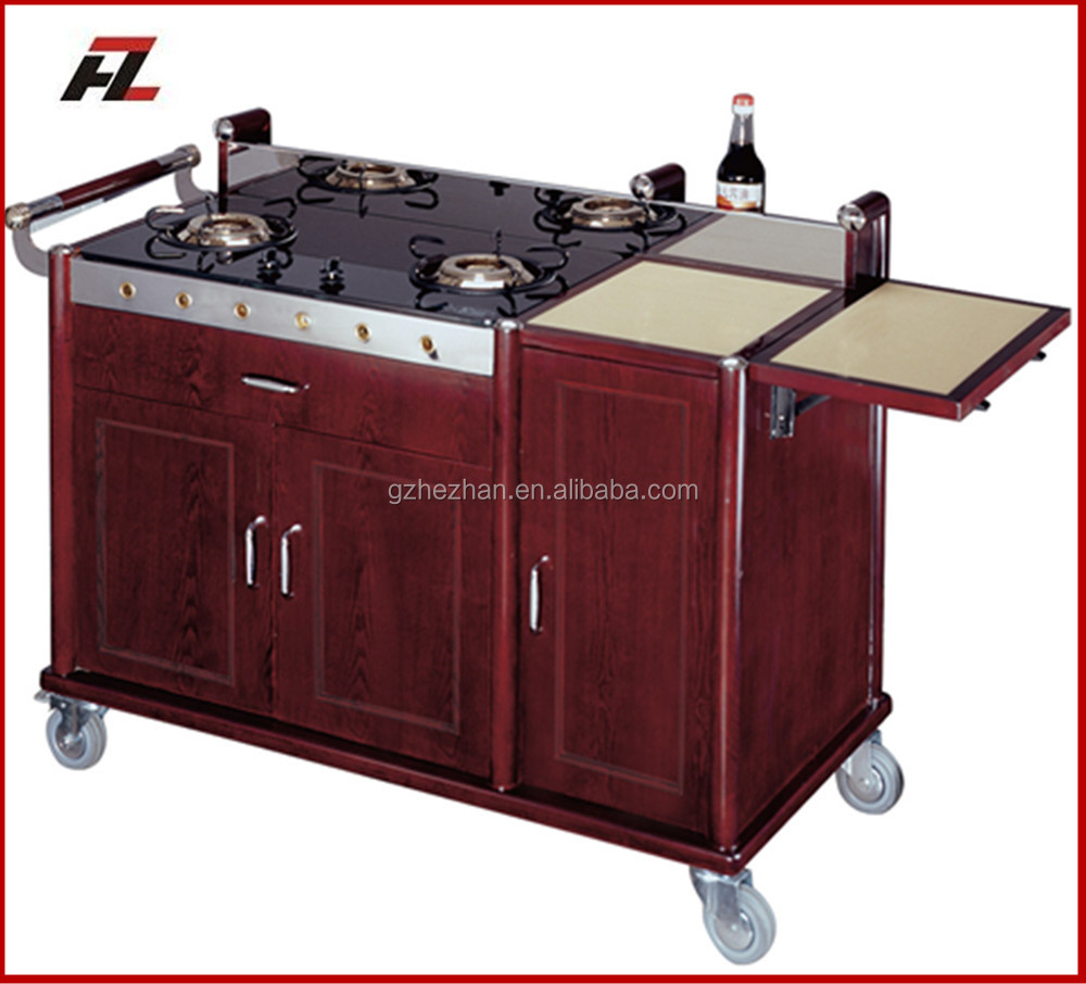 High quality luxury two stoves flambe cart for five stars hotel