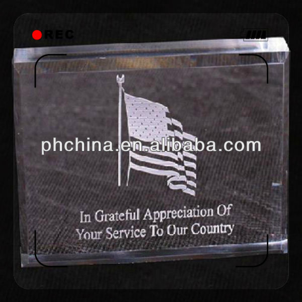 Popular clear acylic paperweight custom lucite paperweight