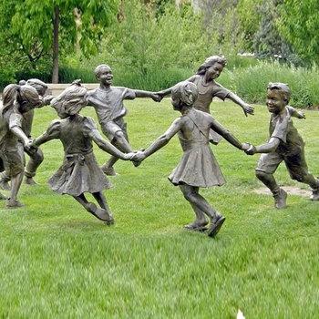 Outdoor Garden Playing Children Statues
