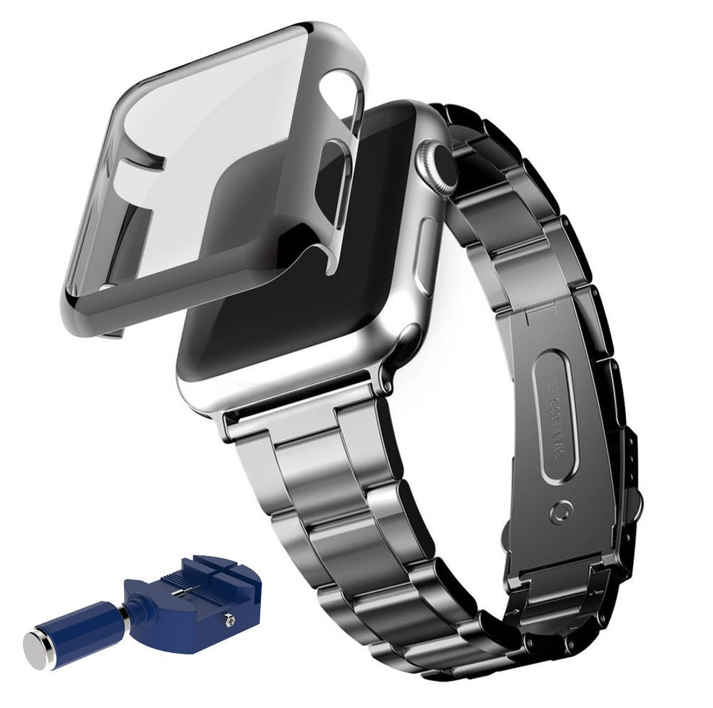 For Apple Watch iWatch 42mm, Oksale® Luxury Stainless Steel Smart Watch Replacement Bracelet Strap Band + Adapter + Case Cover Frame