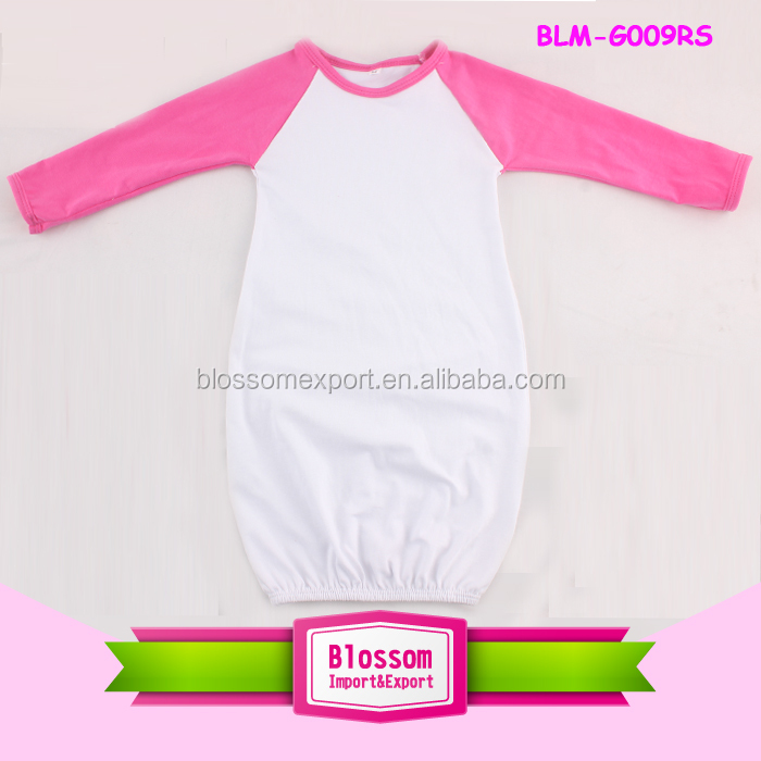 Baby gown match hat white body solid color long sleeve raglan baby gown pictures for children gown