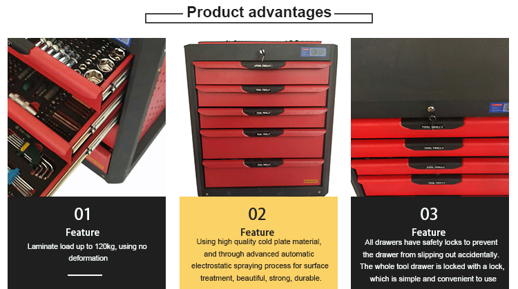 5 drawer movable tool trolley tool box roller cabinet