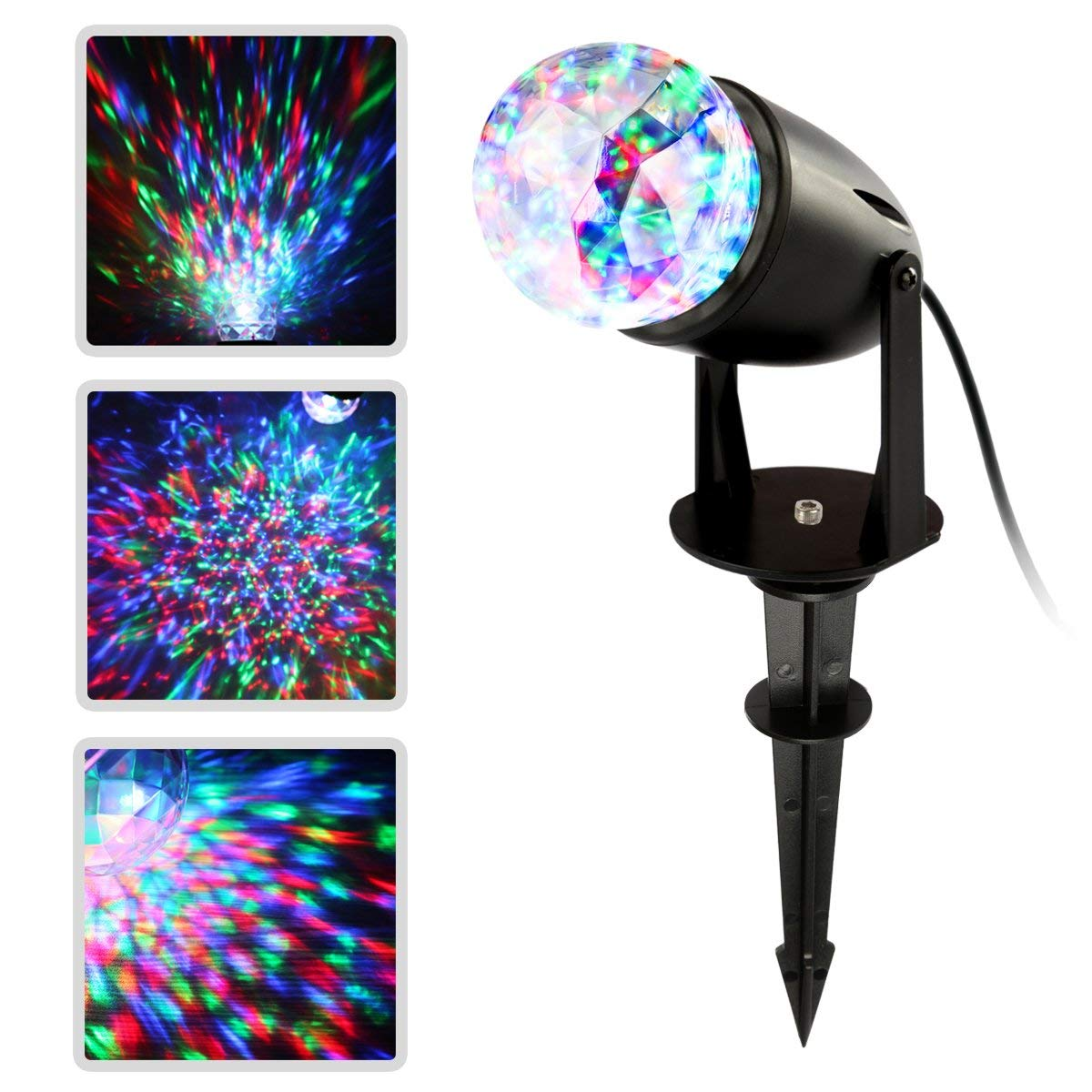 CoastaCloud Led Projector Light Holiday Decoration Light Moving Water Wave Spotlight Stake Lamp Waterproof Multicolor Kaleidoscope Projection for Halloween, Christmas Party