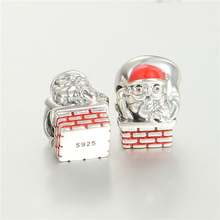 Santa Claus Bead European Jewelry Diy Enamel Sterling Silver Charm For Snake And Leather Bracelet