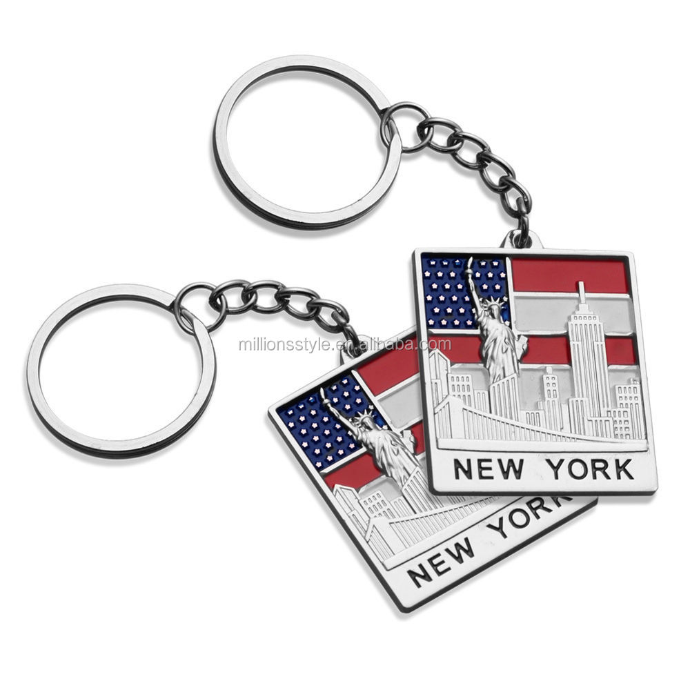 new york souvenir stainless steel enamel metal keychain wholesale