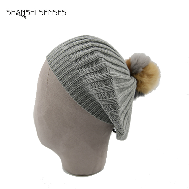 Ladies solid Custom knitted acrylic beret with rabbit fur trim Wholesale