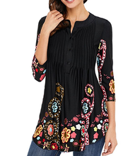 Frauen 3/4 Hülse Rundhals Floral Tunika Tops <span class=keywords><strong>Lose</strong></span> Bluse Button Up Shirts