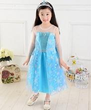 2015 New Kids font b Dress b font Blue Princess Girl font b Dress b font