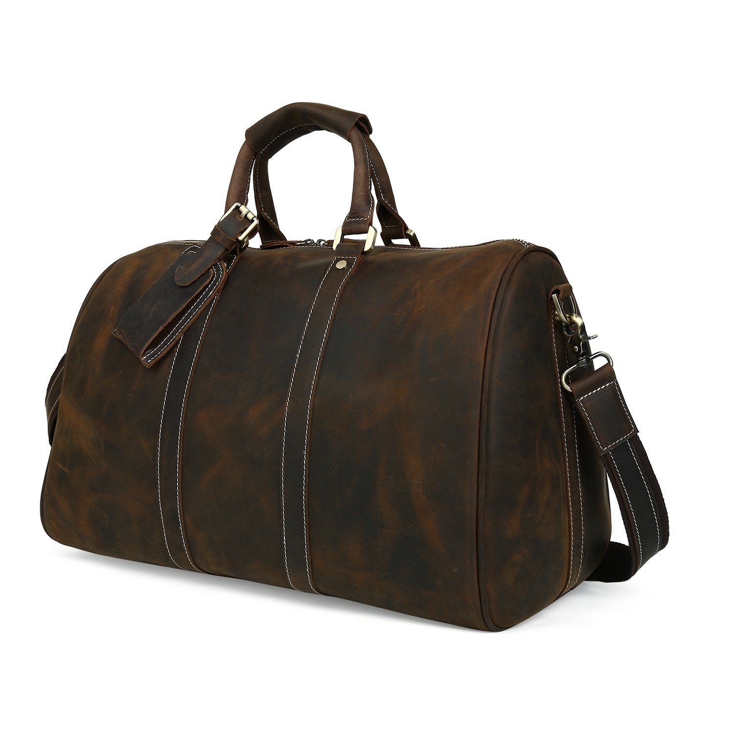9ceedc528b Get Quotations · Huntvp Mens Crazy Horse Leather Overnight Duffle Bag  Vintage Tote Crossbody Bags