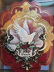 punch studio 64490 dimensional 10 embellished holiday christmas cards with peace dove