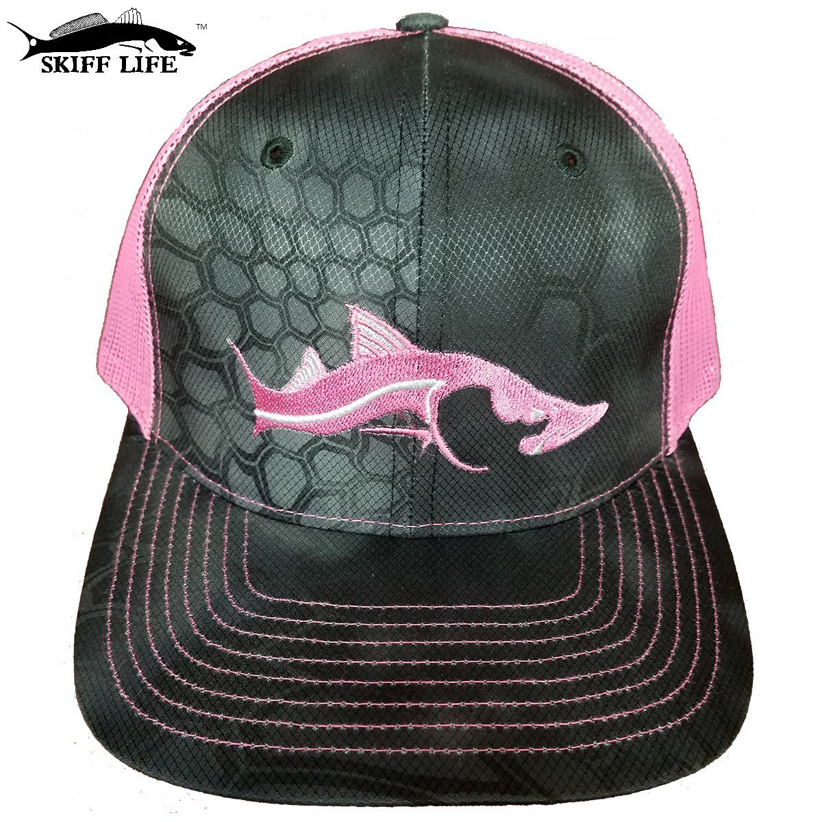 2dad9c65ba51a Get Quotations · Skiff Life HOT PINK Snook Hat! Kryptek Typhon Camo Fishing  Hat Neon Pink Meshback Pink