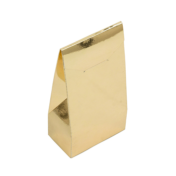 Gold aluminum foldable fancy printing flat bottom paper gift bag