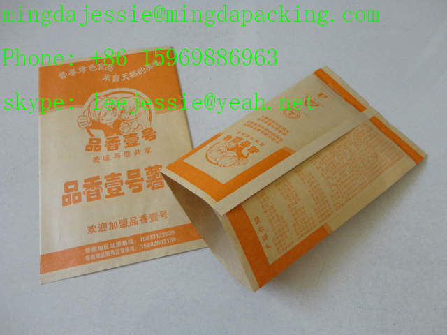 Customed Design Printed Kraft paper bags for fried chips