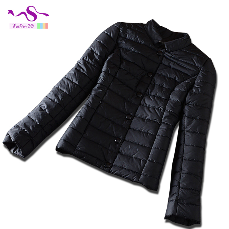 2015 Autumn and winter new women's cotton parkas slim light thin solid plus size single breasted stand collar jacket YT161