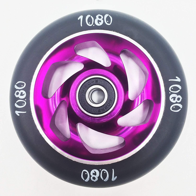 Black//Black Ten Eighty 100mm Swirl Stunt Scooter Wheels Pair
