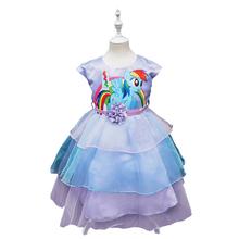 2016 das meninas de moda de nova cor gaze tutu meninas vestido meu pônei crianças dos desenhos animados princesa do bebê vestido de chiffon de lantejoulas roupas