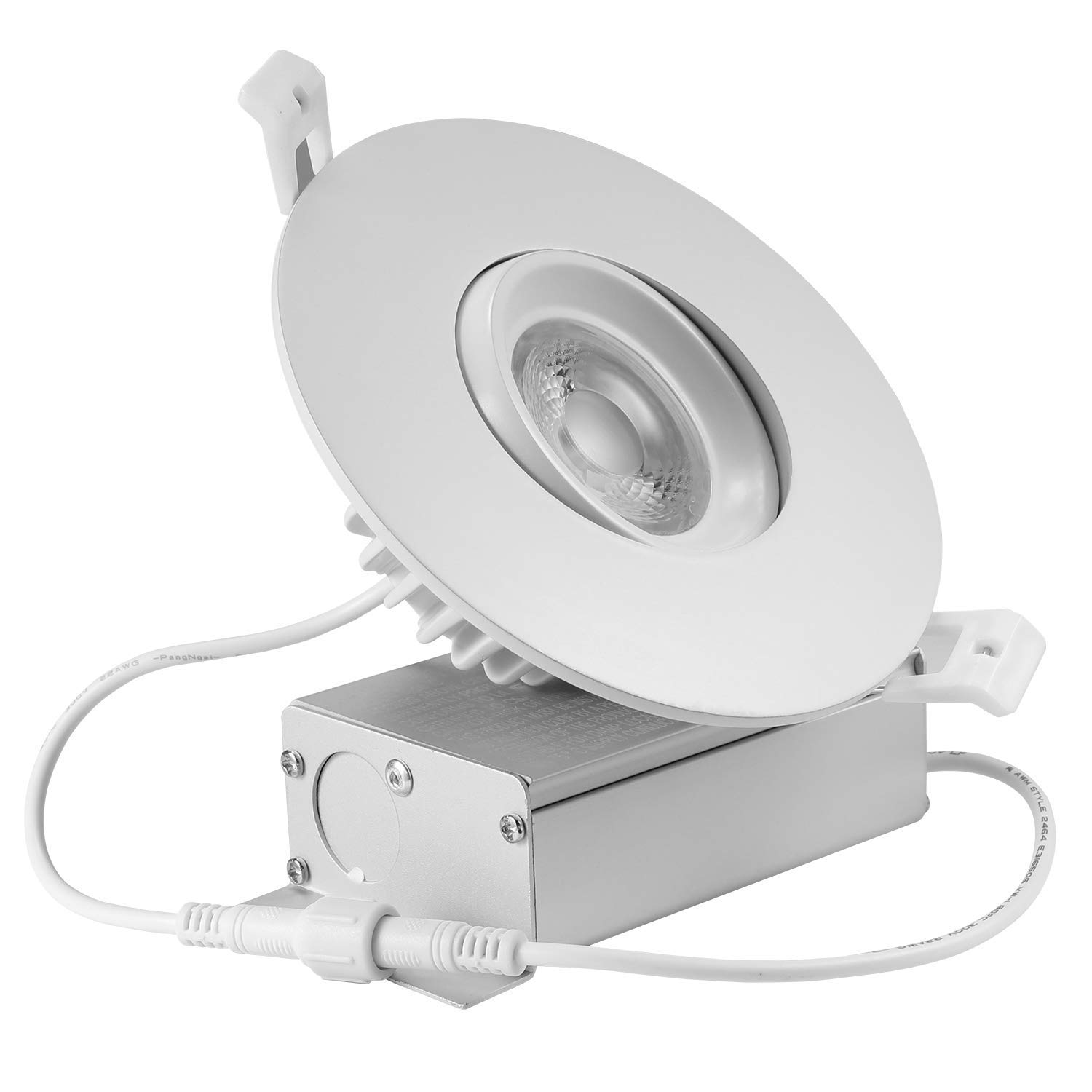 NICKLED 3 Color Dimmable 4 inch LED Gimbal Downlight, Adjustable LED Retrofit Lighting Fixture with Junction Box, 3000K(Warm White) 4000K(Bright White) 5000K(Day White) Switch Between 3 Colors 12W