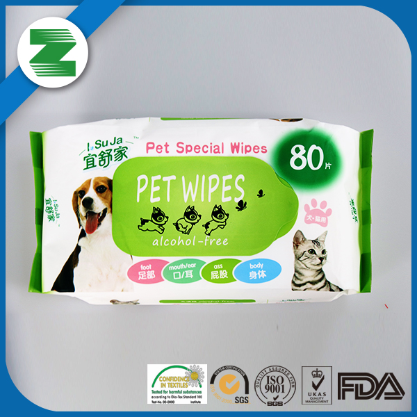 Fresh scent antibacterial animal cleaning pet stain remover flushable wipes