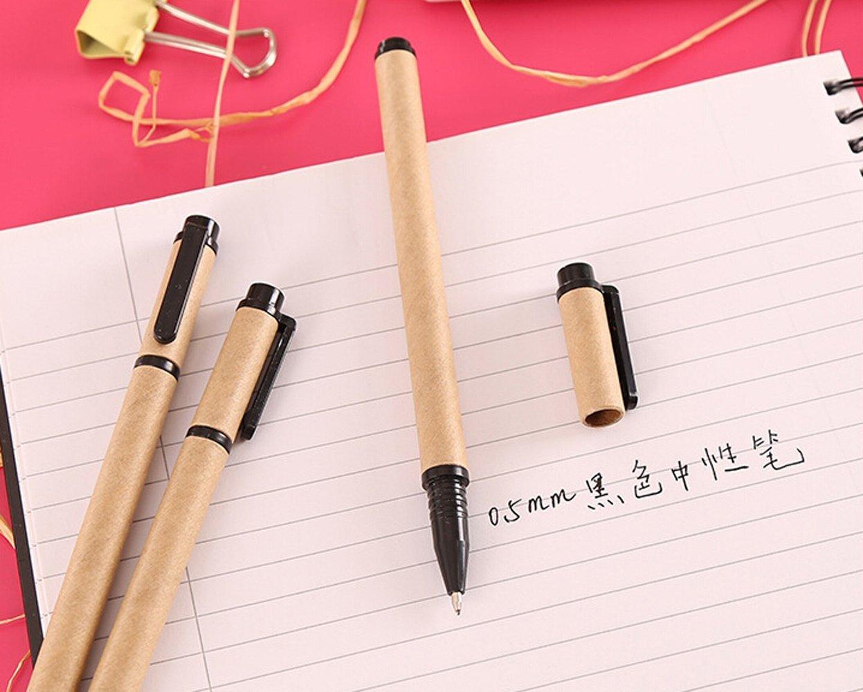 10pcs Writing Gel Ink Pen Set Kraft Paper Barrel 0.5mm Fine Point Pen,Black Ink,Pen Refill Replaceable, Anti Skip and Smoothing Writing