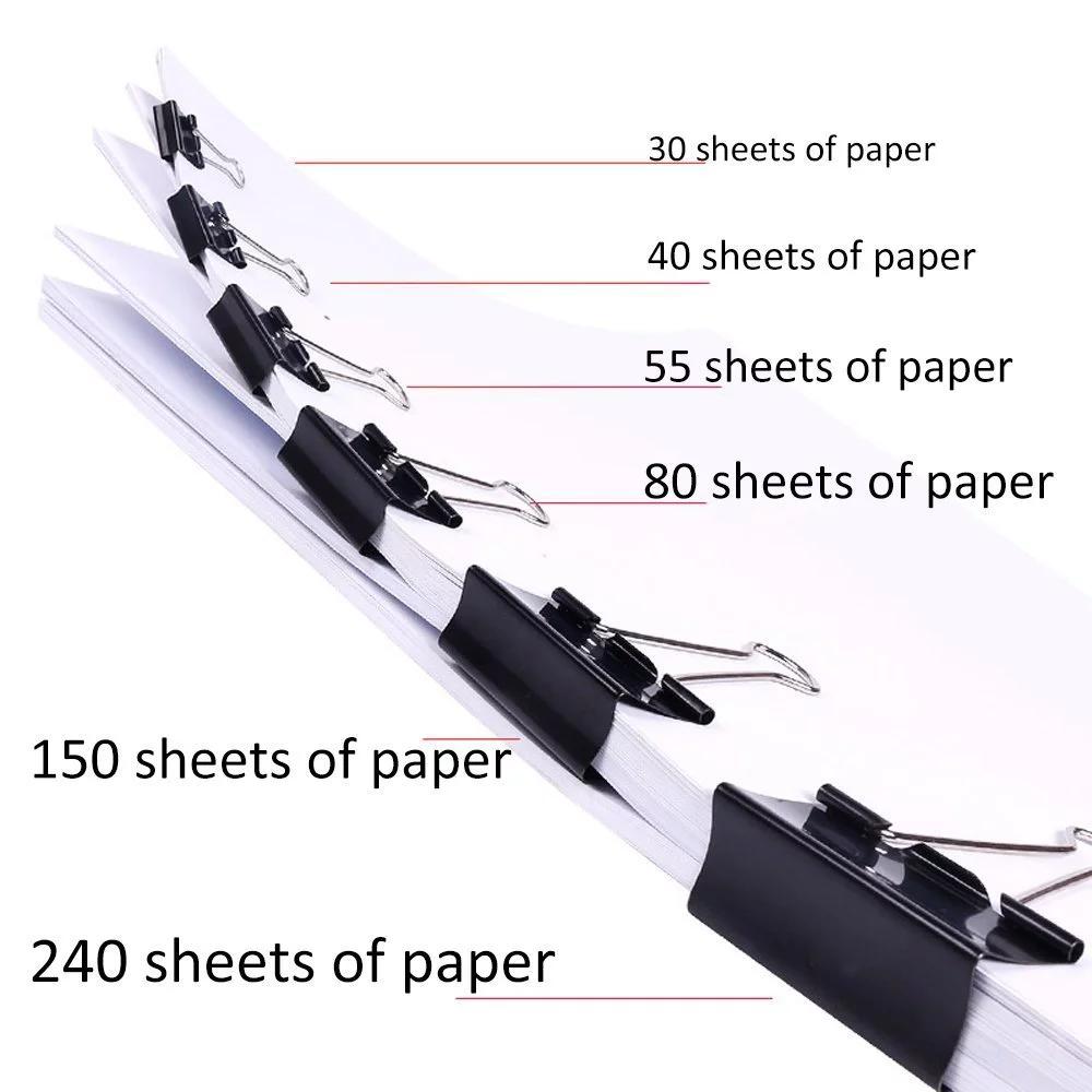 Zwarte Bindmiddel Clips 130pcs Metalen Zwaluwstaart Paperclips voor Notities Brief Home School