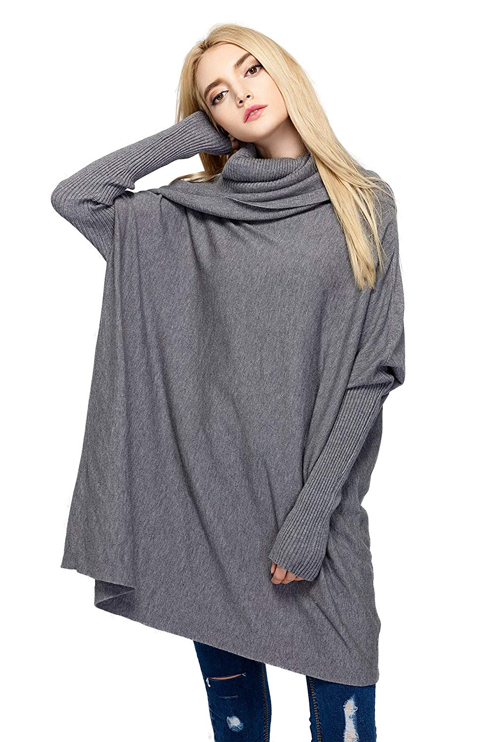 HAPEE Women's Cowl Neck Long Sleeve Loose Fit Knitted Pullover Sweaters