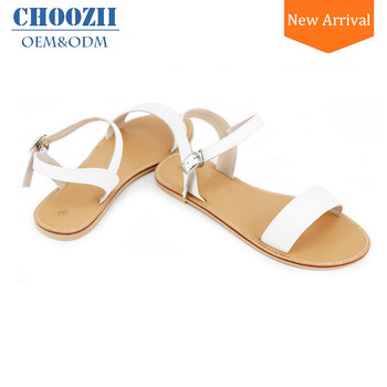 OEM Shoe Factory Guangzhou Latest Simple Ladies White Leather Flat Sandals