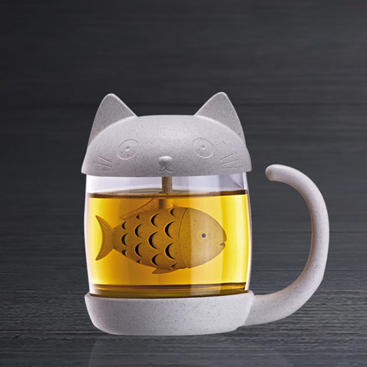 Amazon hot sell cat shape glass cup tea infuser with fish infuser strainer filter