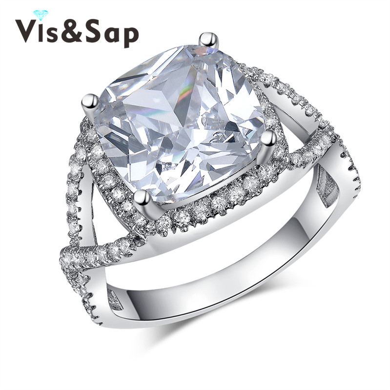6ct AAA cz diamond ring Christmas Gifts White Gold plated Vintage engagement Wedding Rings For Women