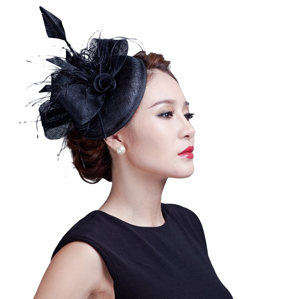 50a25d7f433 Get Quotations · EOZY Women Cocktail Fascinators Sagittate Feather Wedding  Hair Clip Hats Black