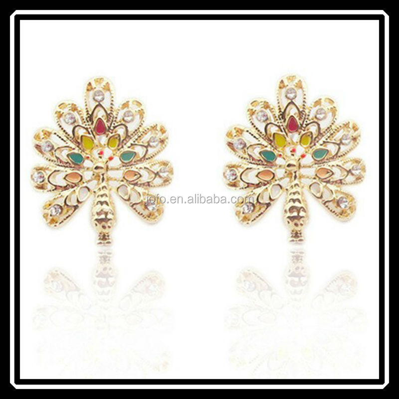 Fashion Colorful Peacock Crystal Chandelier Earrings For Sale Russian <strong>Internet</strong> TV Show MGJ0275