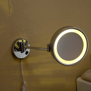 "Fapully High Quality 8"" Brass 1x3X Magnifying Bathroom Wall Mounted Round makeup mirror with LED light"