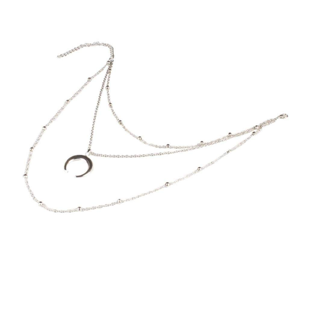 LLguz Simple Women Fashionable Personality Alloy Bohemian Bead Chain Moon Pendant Multilayer Classic Luxury Necklace