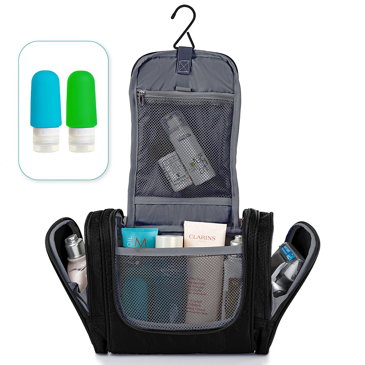 Hanging Toiletry Bag - Travel Organizer - Toiletry Kit - Shower Bag - Bathroom bag for Toiletries - Large Traveling Cosmetic Makeup bag for Men and Women - With Travel Bottles Set - Black