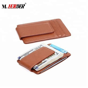 Wholesale custom business card holders slim wallet men genuine leather magnetic money clip