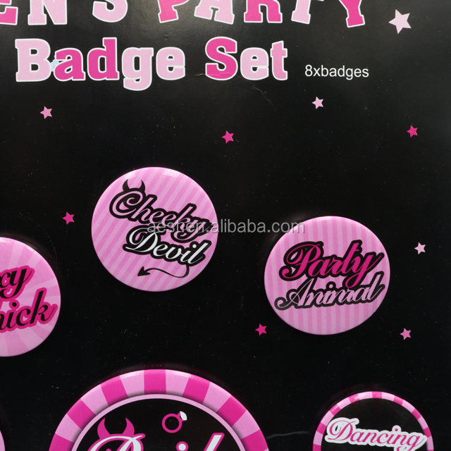 New Arrival Party Decoration Button Badge Pin Hen Party Pink Round Button Badge