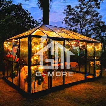 G-more Luxury Strong Outdoor Glass Gazebo Greenhouse - 10' X 15' FT