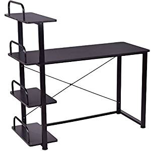 Black 4 Tier Computer Laptop Notebook PC Workstation Desk With Shelves Writing Study Spacious Work Station Table Home Office Living Room Free Standing Space Saving Furniture Decoration Modern Design