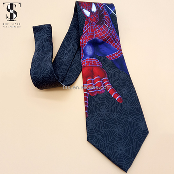 Fancy Cheap printed anime Spiderman neck tie silk simple neckwear