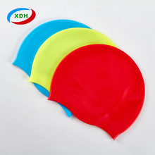 Fit design long hair flexible nude silicone swim cap